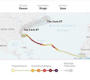הוריקן פלורנס, ספטמבר 2018