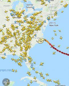 הוריקן פלורנס מעל צפון קרוליינה, כל המטוסים נמנעים מטיסה שם